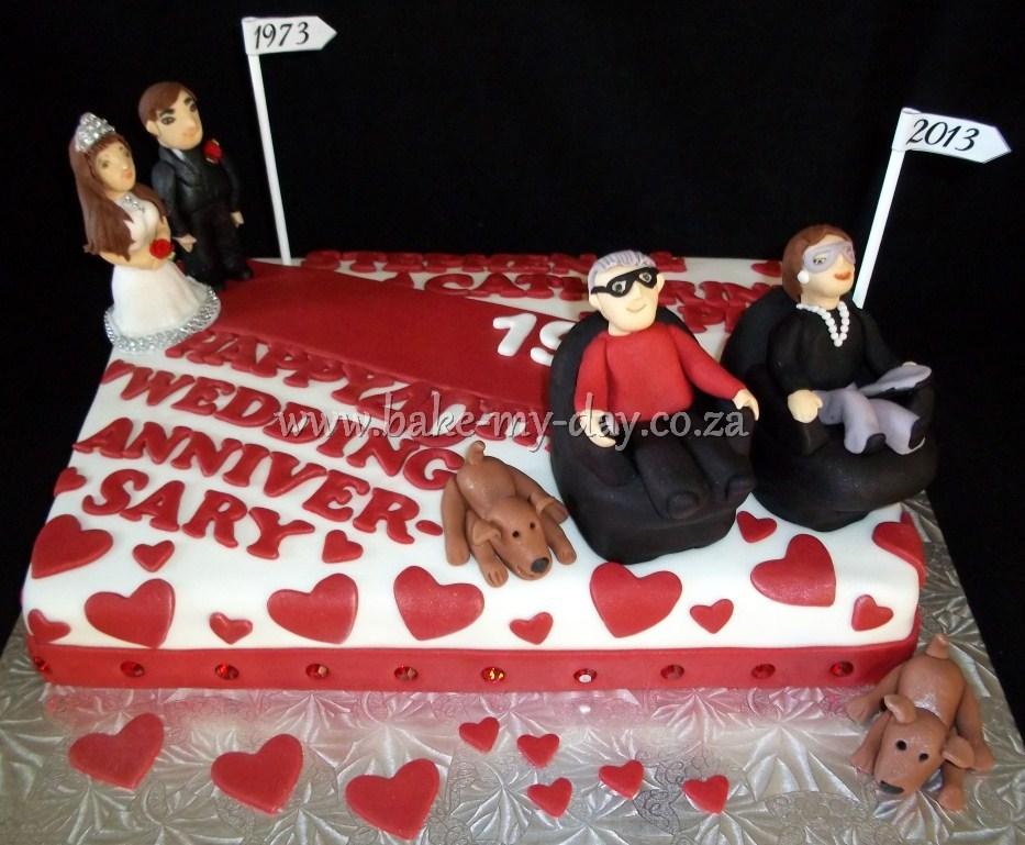 40th Wedding Anniversary Cake 1